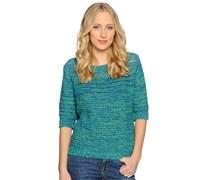 Strickshirt, blau/grün, Damen