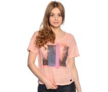 T-Shirt aus Leinen, koralle, Damen