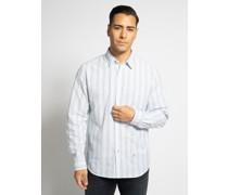 Langarm Hemd Regular Fit weiß/hellblau