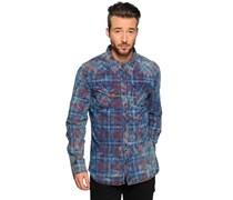 Hemd Custom Fit, blau/rot, Herren