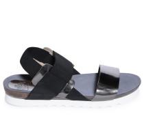 Sandalen, schwarz/silber, Damen