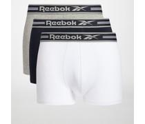 Boxershorts 3er Set weiß/navy/grau meliert