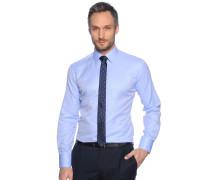 Hemd Slim Fit + Krawatte, Blau, Herren