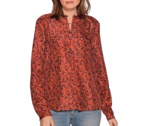 Blusenshirt aus Seide rot/schwarz