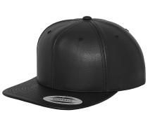 Full Lthr Imitation Snapback Cap - Schwarz