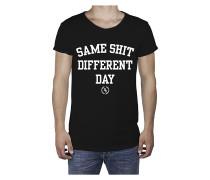 Same Shit R-Neck Long Back - T-Shirt für Herren - Schwarz