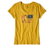 Kitted Cotton V-Neck - T-Shirt für Damen - Gelb