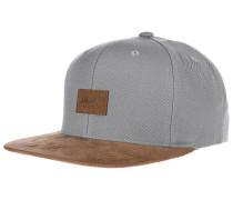 Suede 6-Panel Snapback Cap - Grau
