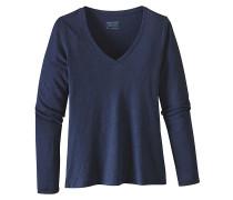 Necessity V-Neck - Langarmshirt für Damen - Blau