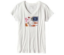 Kitted Cotton V-Neck - T-Shirt für Damen - Weiß
