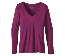 Necessity V-Neck - Langarmshirt für Damen - Rot