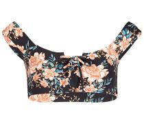 Let It Bloom Lace Up - Bikini Oberteil für Damen - Schwarz