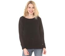 Knitted Mesh Crew - Strickpullover für Damen - Schwarz