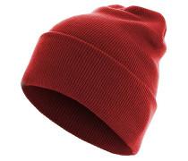 Beanie Basic Flap Long Version Mütze - Rot