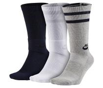 3 Pack Crew Socken - Schwarz