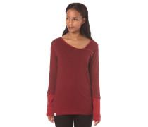Asym Stripe Button - Langarmshirt für Damen - Rot
