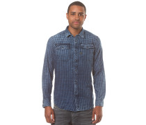 Landoh Shirt-Indigo Medium Murdo Flannel Check - Langarmshirt für Herren - Schwarz
