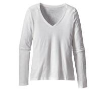 Necessity V-Neck - Langarmshirt für Damen - Weiß
