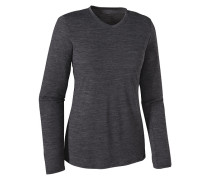 L/S Merino Daily V-Neck - T-Shirt für Damen - Schwarz
