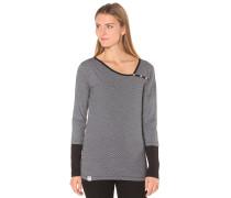 Asym Stripe Button - Langarmshirt für Damen - Schwarz