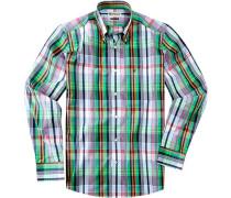 Herren Hemd Regular Fit Baumwolle blau-grün kariert blau,grün