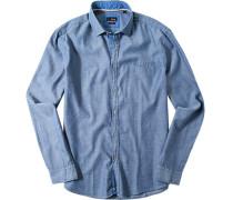 Hemd Slim Fit Baumwolle jeansblau meliert