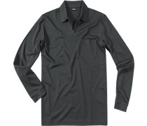 Polo-Shirt Zip-Polo Pima Baumwoll-Piqué anthrazit