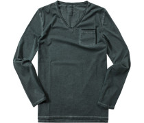 Herren T-Shirt Longsleeve Baumwolle petrol meliert grün
