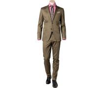 Anzug, Shaped Fit, Baumwolle, khaki
