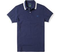 Polo-Shirt Polo Slim Fit Baumwoll-Piqué nachtblau
