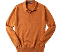 Herren Pullover Merinowolle orangebraun meliert