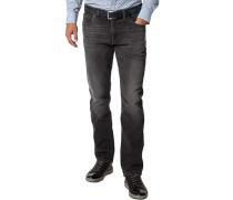 Blue-Jeans Regular Fit Baumwoll-Stretch dunkelgrau