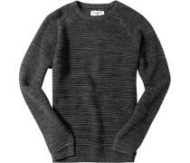 Herren Pullover Baumwolle anthrazit-grau meliert