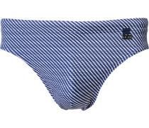Herren Bademode Badeslip Microfaser-Stretch navy gemustert blau