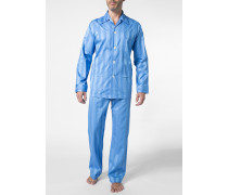 Schlafanzug Pyjama Baumwolle hellblau gestreift