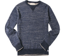 Herren Pullover Baumwolle jeansblau-beige meliert