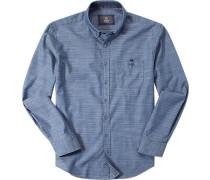Hemd Modern Fit Baumwolle indigo gemustert
