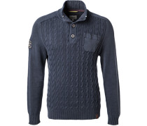 Pullover Troyer, Baumwolle, navy
