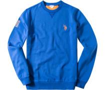 Herren Pullover Sweater Baumwoll-Mix capriblau