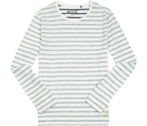T-Shirt Longsleeve Baumwolle wollweiß-grau gestreift