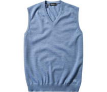 Pullover Pullunder Merinowolle bleu meliert