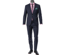 Anzug, Slim Fit, Schurwolle Super110 REDA, dunkelblau kariert