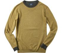 Herren Pullover Pulli Goes Merinowolle gelbgrün meliert gelb,grau