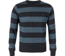 Pullover, Baumwolle, navy gestreift