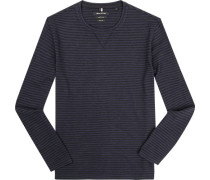 T-Shirt Longsleeve Shaped Fit Baumwolle navy-anthrazit gestreift