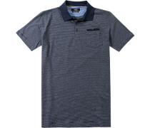 Polo-Shirt Polo Baumwoll-Jersey dunkelblau gestreift