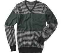V-Pullover Leinen-Baumwolle schwarz-grün gestreift
