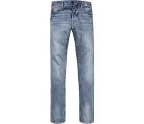 Herren Blue-Jeans Slim Fit Baumwolle jeansblau