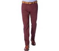 Herren Hose Chino Biarritz-D 3 Baumwolltwill mit Stretch rotbraun braun,rot