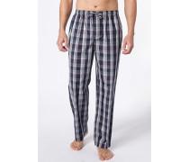 Schlafanzug Pyjamahose Baumwolle navy-violett kariert